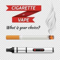 conjunto transparente de cigarro realista vetor
