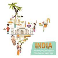 fundo do mapa do ícone da índia vetor