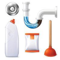 conjunto limpador de drenos vetor