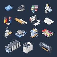 impressão de ícones isométricos da indústria de poligrafia vetor