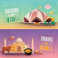 banners horizontais de viagens índia vetor