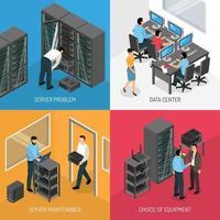 conceito de design de datacenter de nuvem isométrica vetor
