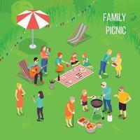 ilustração de piquenique em família vetor