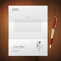 conjunto de papel caneta empresarial vetor