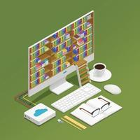 composição isométrica de e-learning vetor