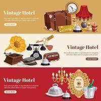 banners horizontais de hotéis vintage vetor