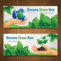 banners horizontais de ecologia vetor