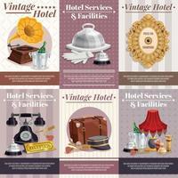 conjunto de pôster de hotel vintage vetor