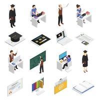 ícones isométricos de e-learning vetor