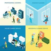 conceito de design de serviço de limpeza isométrica vetor