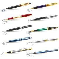 conjunto caneta-tinteiro empresarial vetor