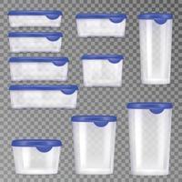 conjunto realista de recipientes de plástico para alimentos vetor
