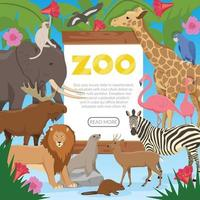 composição plana do zoológico vetor