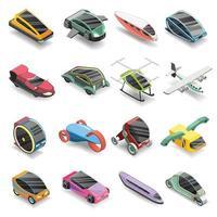 ícones isométricos de transporte futuro vetor