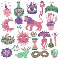 Conjunto de cores para tatuagem de religião mágica da moda vetor