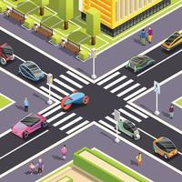 futuro transporte isométrico fundo de rua vetor