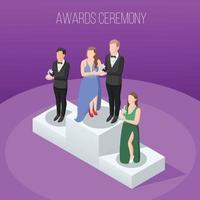 talentos e prêmios programas de tv composição isométrica vetor