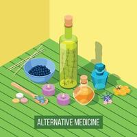 composição isométrica de medicina alternativa vetor