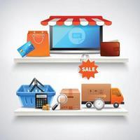 compras online realistas vetor
