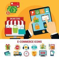 ilustração plana de e-commerce vetor