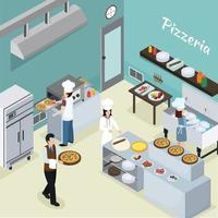 pizzaria isométrica de interior de cozinha profissional vetor