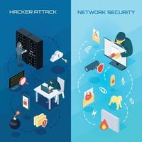 banners verticais de hackers isométricos