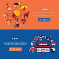 conjunto de banner de países de viagens vetor
