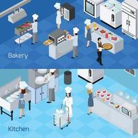 banners horizontais de interiores de cozinha profissional vetor
