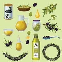 conjunto de ícones de desenho animado verde-oliva vetor
