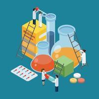 fundo isométrico de produção farmacêutica