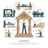 ilustração plana para carpintaria vetor