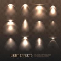conjunto transparente de efeitos de luz vetor