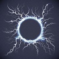 círculo de relâmpago elétrico transparente realista vetor