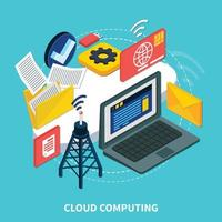 serviços em nuvem isométricos vetor
