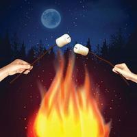 ilustração vetorial marshmallow fogueira vetor