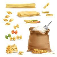 farinha, macarrão e espigas de trigo realistas vetor