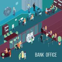 ilustração isométrica do banco vetor