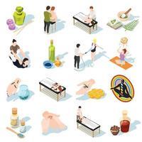 ícones isométricos de medicina alternativa vetor