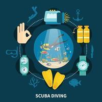 ilustração plana de mergulho vetor
