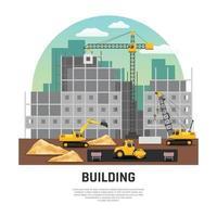 composição de maquinário de construção vetor