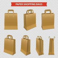 conjunto de sacolas de papel vetor