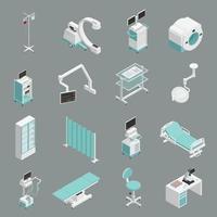 ícones isométricos de equipamentos médicos