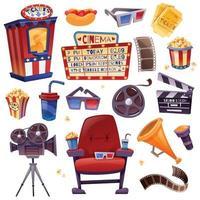 conjunto de desenho animado de cinema vetor