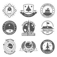 emblemas de exploração espacial vetor