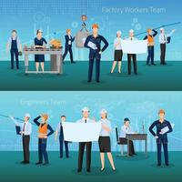 composições de trabalhadores de fábrica plana vetor
