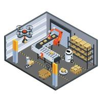 logística automática e fundo isométrico de entrega vetor