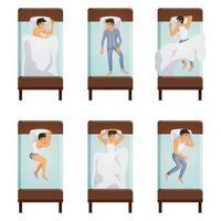 conjunto de poses de homem dormindo vetor