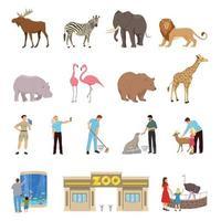 ícones lisos do zoológico vetor