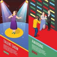 talentos e prêmios programas de tv banners isométricos vetor