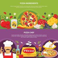 conjunto de banner de pizza vetor